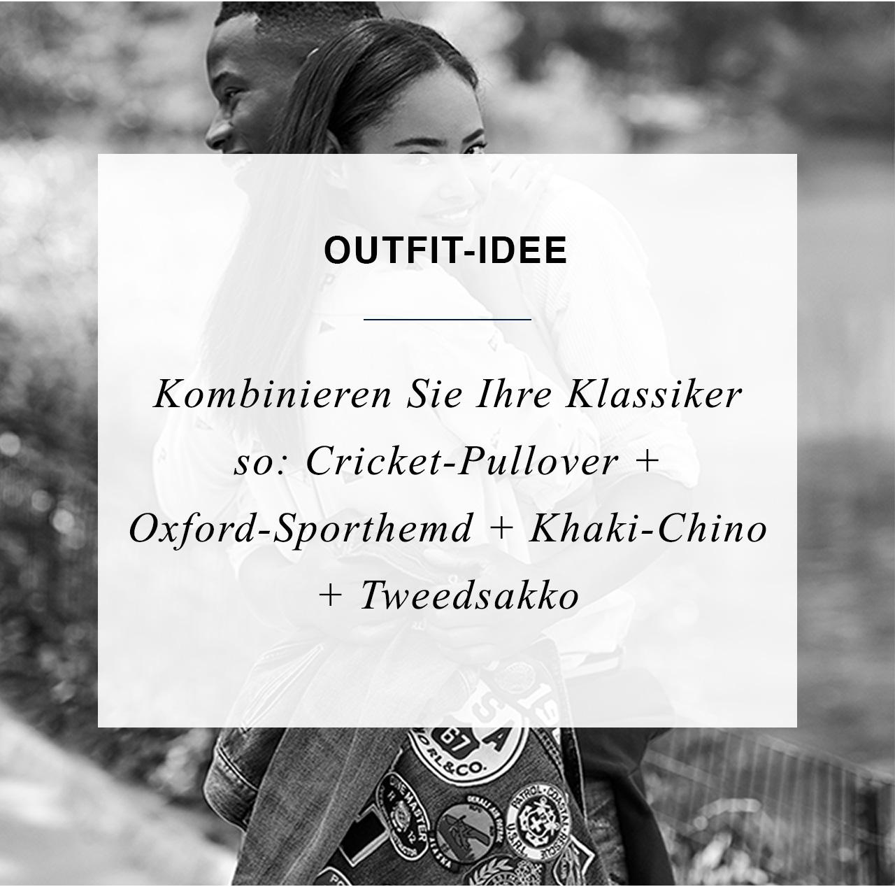 Outfit-idee - Kombinieren Sie Ihre Klassiker so: Cricket-Pullover + Oxford-Sporthemd + Khaki-Chino + Tweedsakko